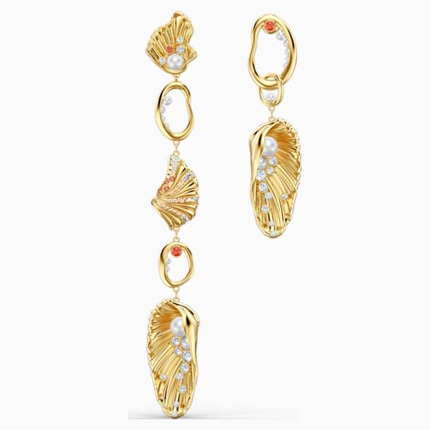 Shell Angel Pierced Earrings, Light multi-coloured, Gold-tone plated - Swarovski, 5520664