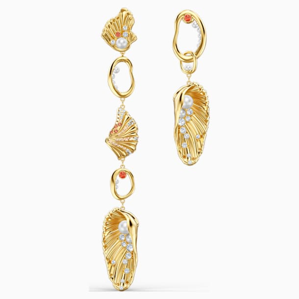 Shell Angel Pierced Earrings, Light multi-coloured, Gold-tone plated - Swarovski, 5520664