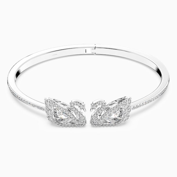 Dancing Swan Bangle, White, Rhodium plated - Swarovski, 5520713
