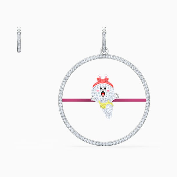 Line Friends Pierced Earrings, Light multi-colored, Rhodium plated - Swarovski, 5520767