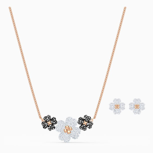 Latisha Set, Black, Rose-gold tone plated - Swarovski, 5520946