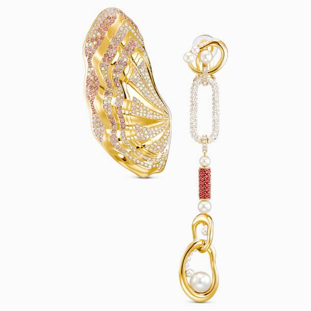Pendientes de clip Sculptured Shells, colores claros, combinación de acabados metálicos - Swarovski, 5521038