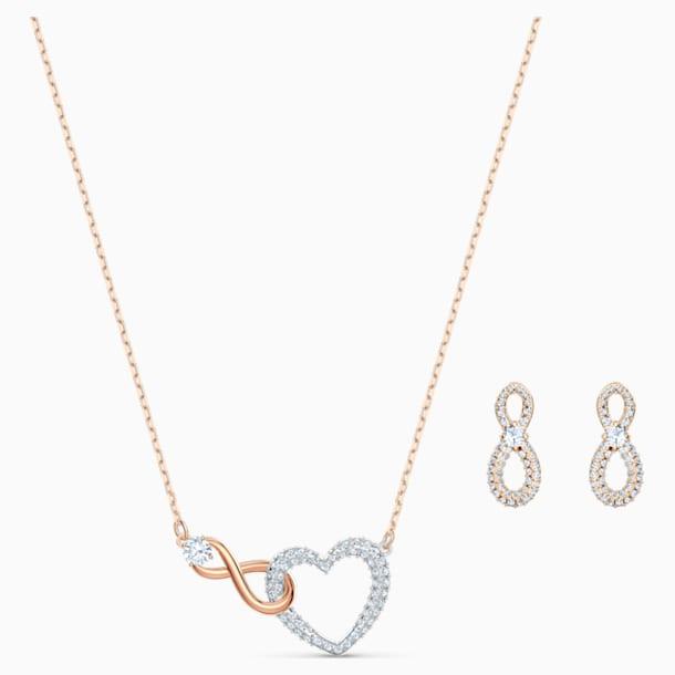 Σετ Swarovski Infinity Heart, λευκό, φινίρισμα μικτού μετάλλου - Swarovski, 5521040