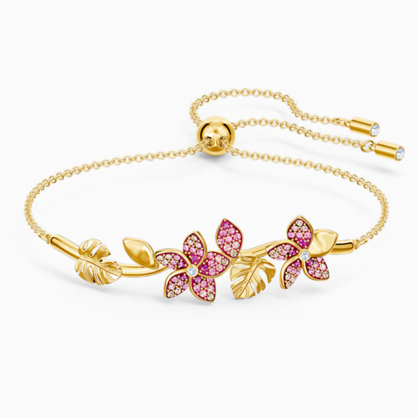 Tropical Flower Bangle, Pink, Gold-tone plated - Swarovski, 5521058