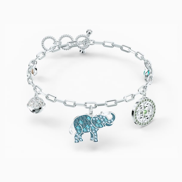 스와로브스키 Swarovski Symbolic Elephant Bracelet, Light multi-colored, Rhodium plated