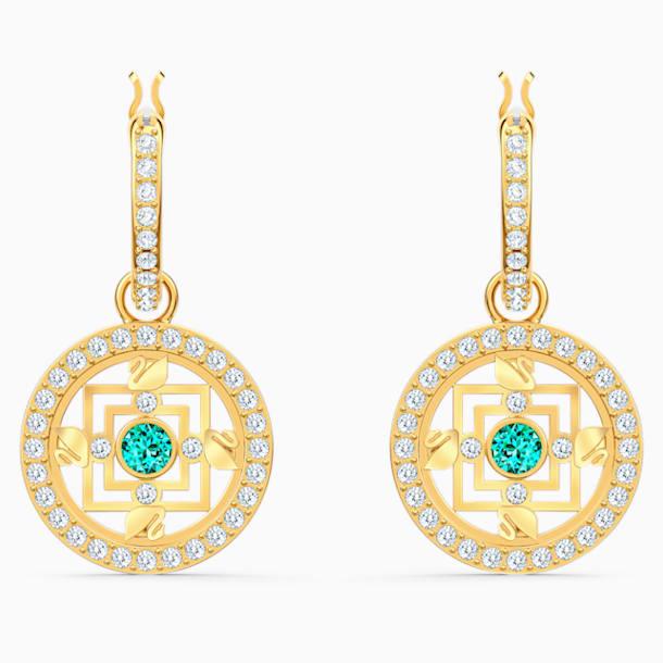 Pendientes de aro Swarovski Symbolic Mandala, verde, baño tono oro - Swarovski, 5521446