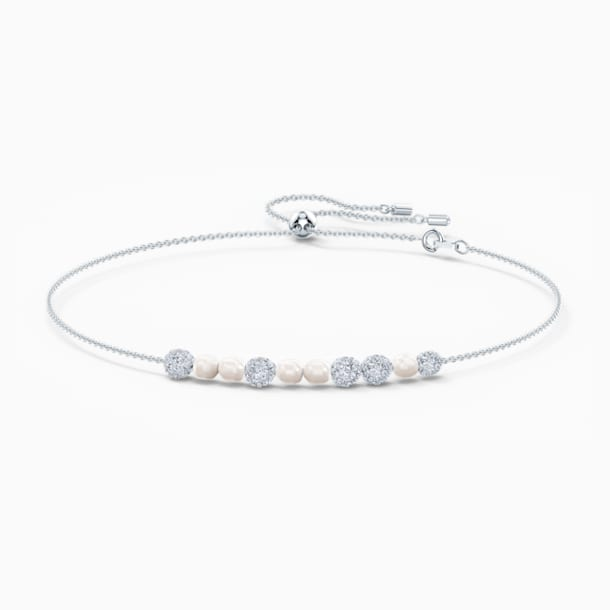 So Cool Choker, White, Rhodium plated - Swarovski, 5521693