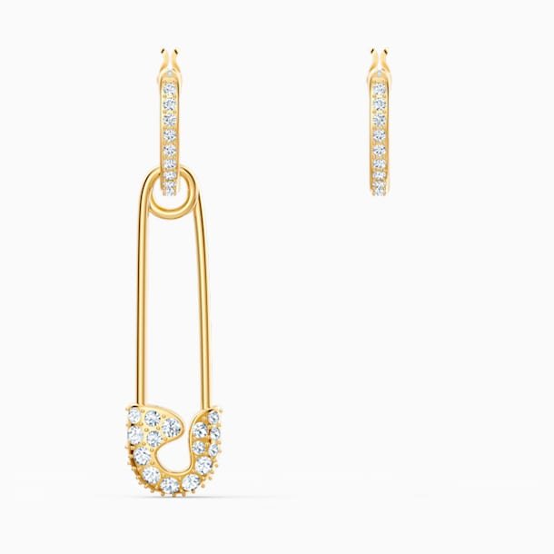 So Cool Pin Pierced Earrings, White, Gold-tone plated - Swarovski, 5521704