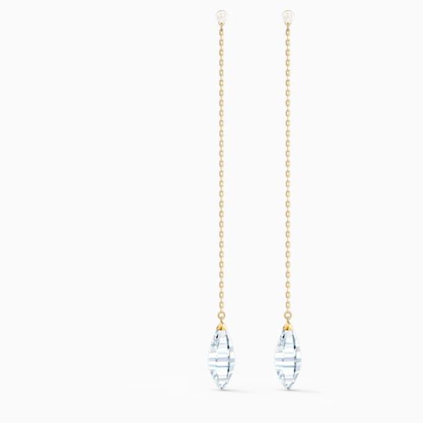 Brincos para orelhas furadas So Cool, brancos, banhados a dourado - Swarovski, 5521724