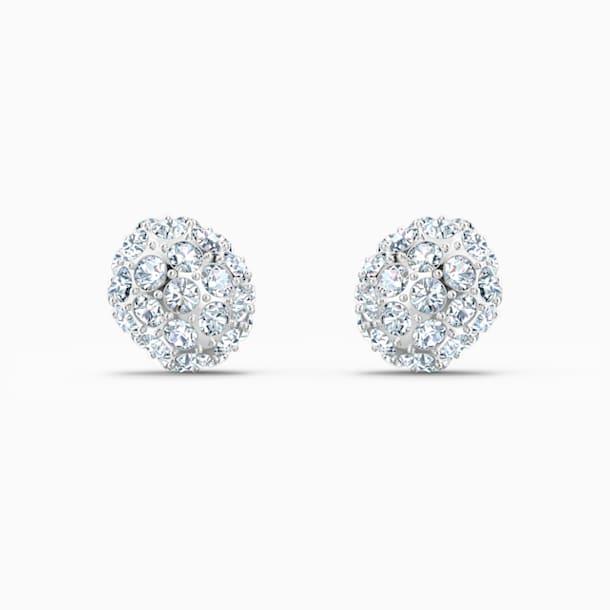 Τρυπητά σκουλαρίκια καρφιά So Cool, λευκά, επιροδιωμένα - Swarovski, 5521735