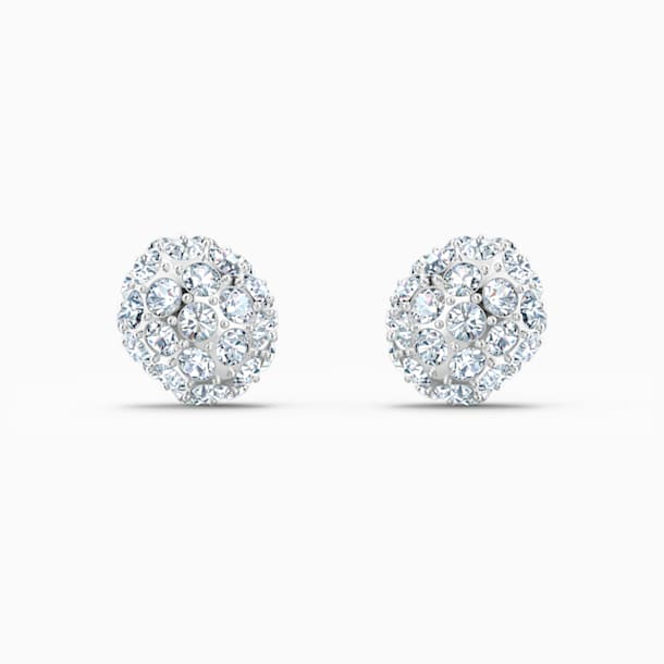 So Cool Stud Pierced Earrings, White, Rhodium plated - Swarovski, 5521735