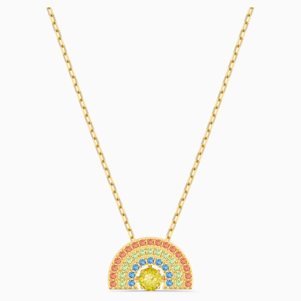 Swarovski Sparkling Dance Rainbow Necklace, Light multi-colored, Gold-tone plated - Swarovski, 5521756