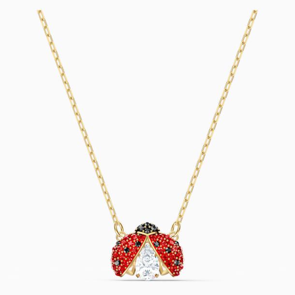 Swarovski Sparkling Dance Ladybug Kolye, Kırmızı, Altın rengi kaplama - Swarovski, 5521787