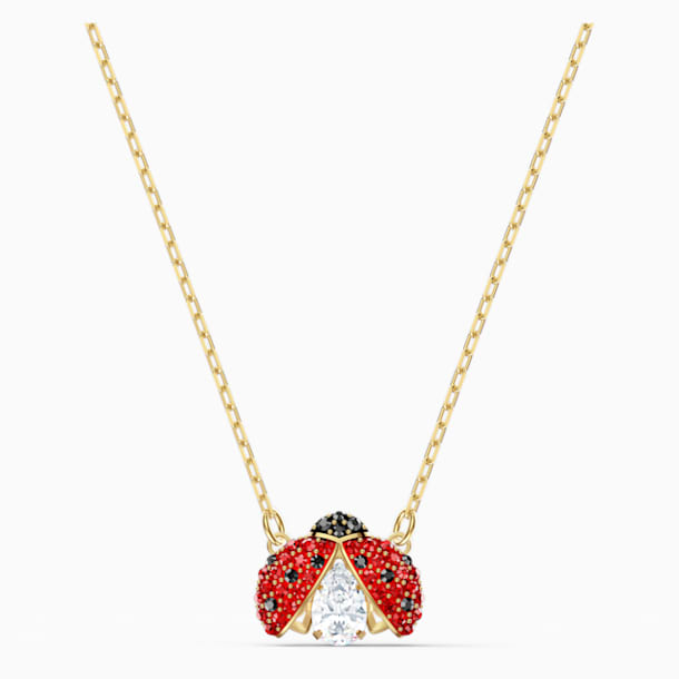 Swarovski Sparkling Dance Ladybug Necklace, Red, Gold-tone plated - Swarovski, 5521787