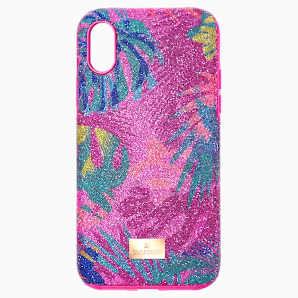 Tropikalne etui na smartfona z ramką ochronną, iPhone® X/XS, ciemne wielokolorowe - Swarovski, 5522096