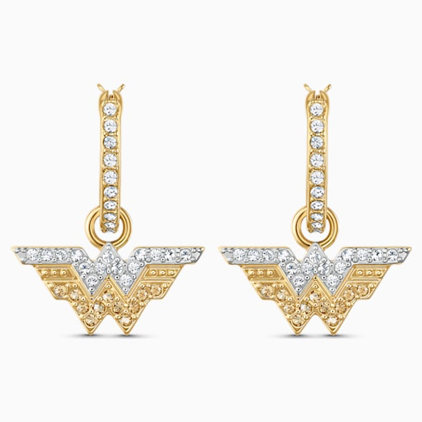 Τρυπητά σκουλαρίκια κρίκοι Fit Wonder Woman, χρυσή απόχρωση, φινίρισμα μεικτού μετάλλου - Swarovski, 5522301