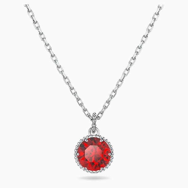 Birthstone Pendant, January, Red, Rhodium plated - Swarovski, 5522772