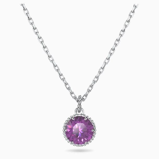 Birthstone 鏈墜, 二月, 紫色, 鍍白金色 - Swarovski, 5522773