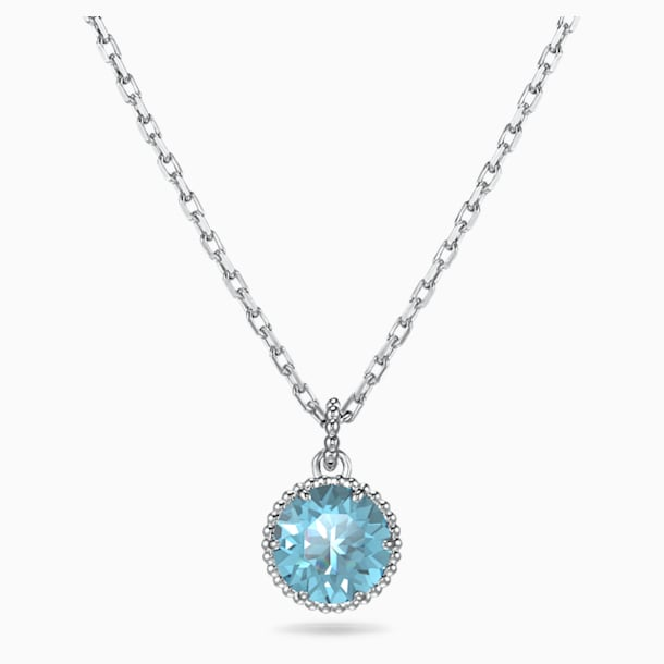 Birthstone Pendant, March, Aqua, Rhodium plated - Swarovski, 5522774