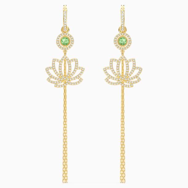 Brincos para orelhas furadas Swarovski Symbolic Lotus, verdes, banhados a dourado - Swarovski, 5522840