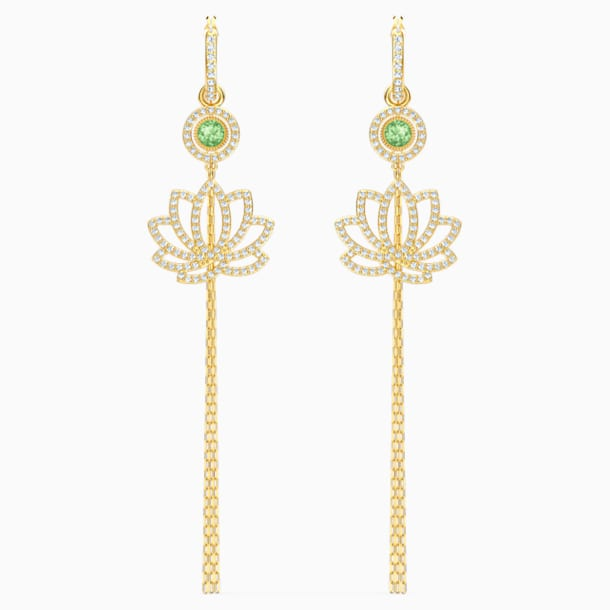 Swarovski Symbolic Lotus Pierced Earrings, Green, Gold-tone plated - Swarovski, 5522840