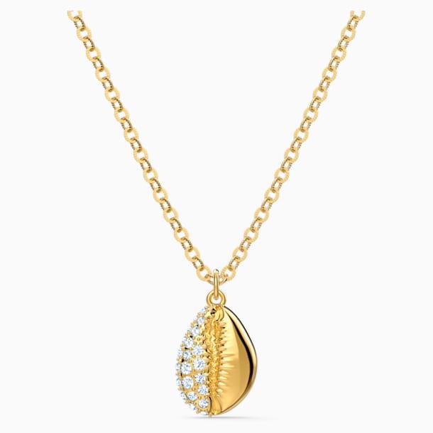 Wisiorek Shell Pave, biały, powłoka w odcieniu złota - Swarovski, 5522886