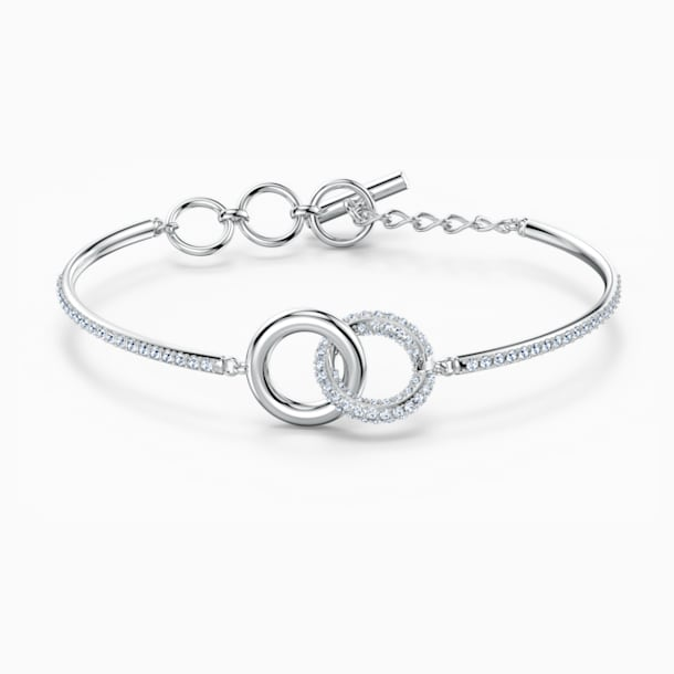 Stone Bangle, White, Rhodium plated - Swarovski, 5523953