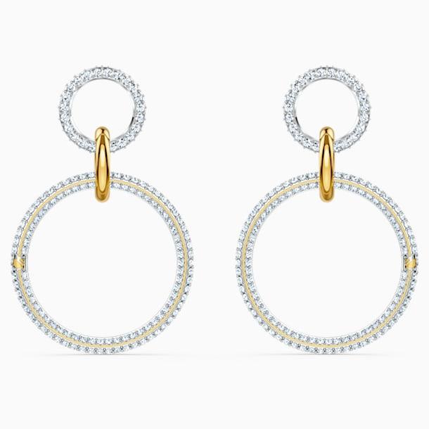 Stone Hoop Pierced Earrings, White, Mixed metal finish - Swarovski, 5523991