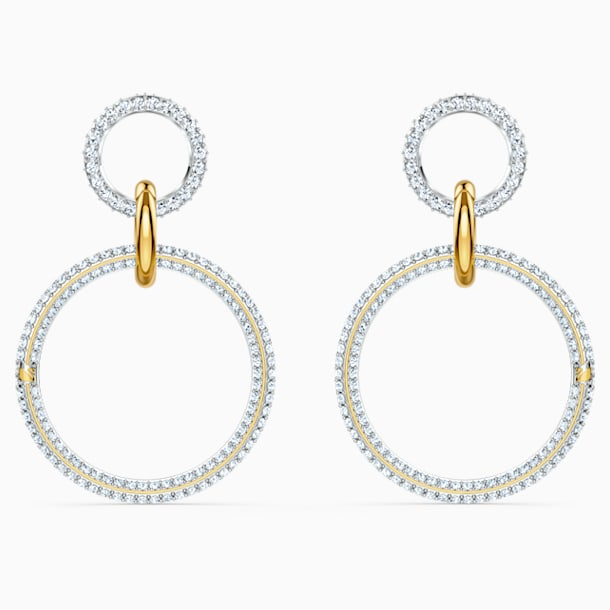 Stone Hoop Pierced Earrings, White, Mixed metal finish - Swarovski, 5523991