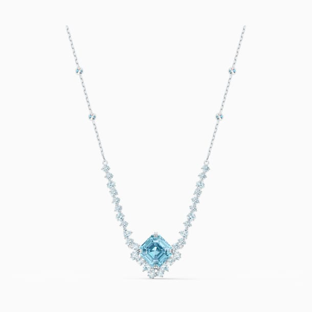 Sparkling Necklace, Aqua, Rhodium plated - Swarovski, 5524137