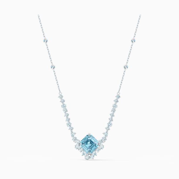 Sparkling Necklace, Aqua, Rhodium plated - Swarovski, 5524137