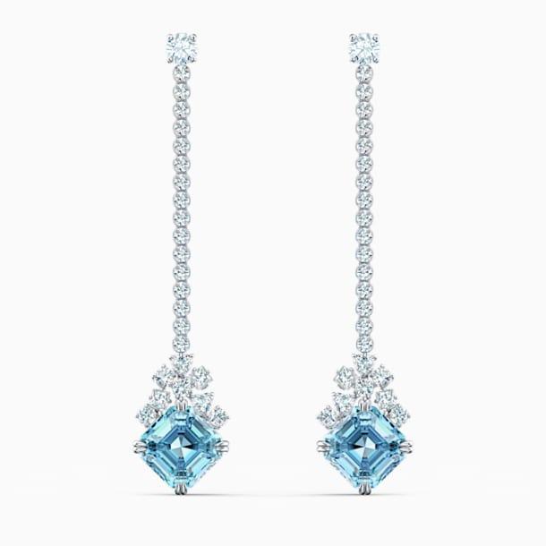 Sparkling Linear Pierced Earrings, Aqua, Rhodium plated - Swarovski, 5524138