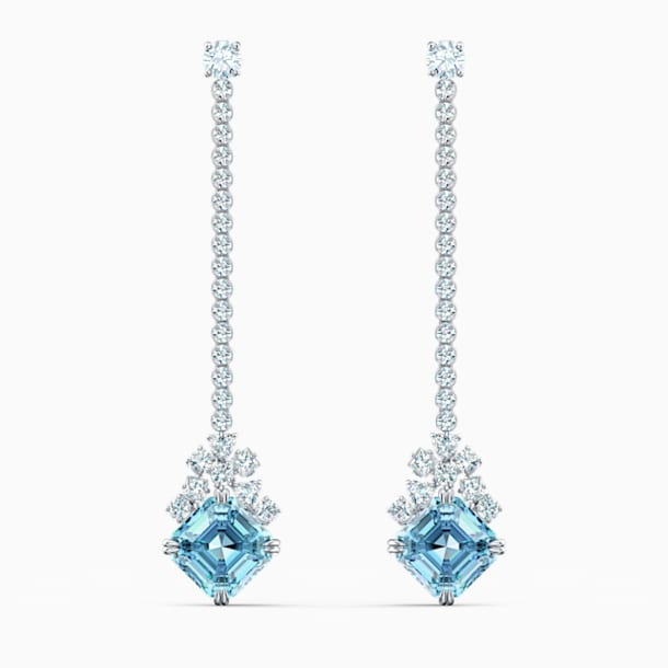 Sparkling Linear Pierced Earrings, Aqua, Rhodium plated - Swarovski, 5524138