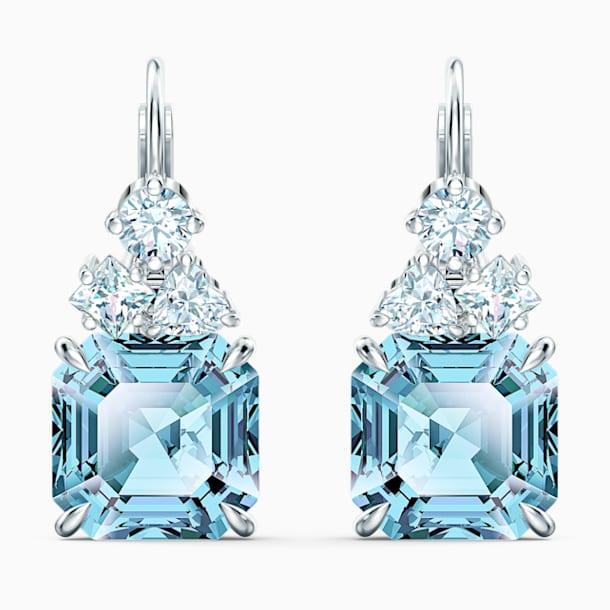Sparkling Pierced Earrings, Aqua, Rhodium plated - Swarovski, 5524139