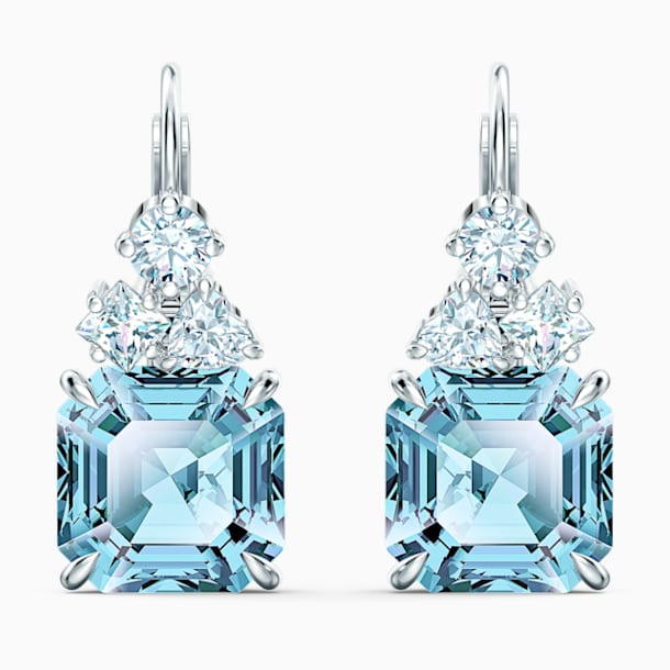 Sparkling Pierced Earrings, Aqua, Rhodium plated - Swarovski, 5524139