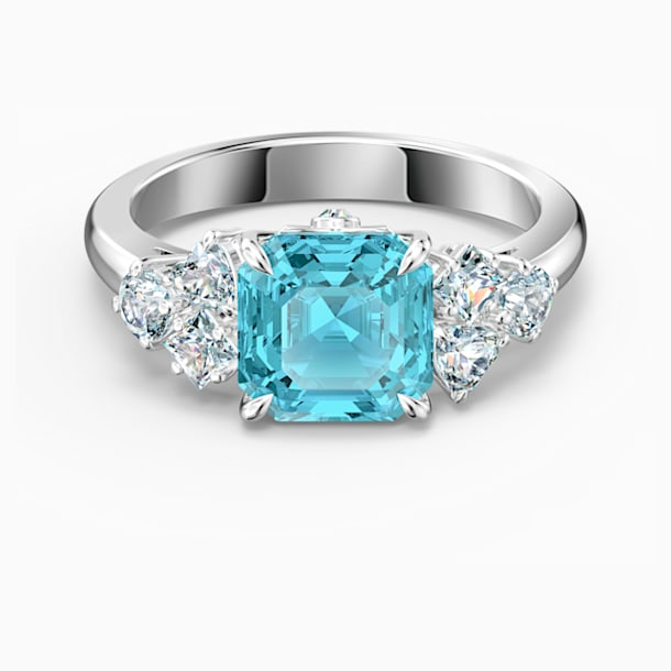 Sparkling 戒指, 海蓝色, 镀铑 - Swarovski, 5524141