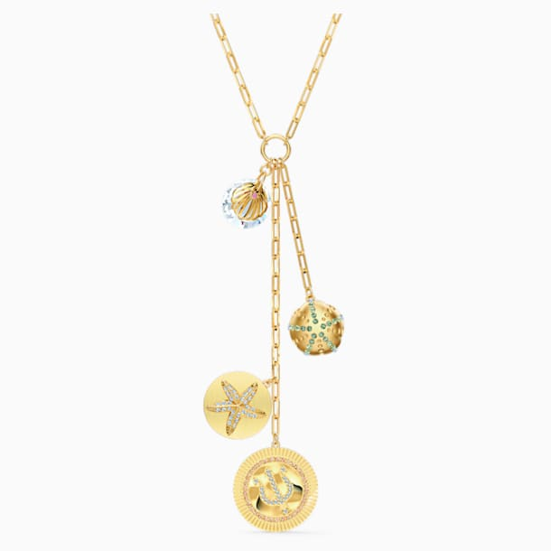 Shine Y Necklace, Light multi-coloured, Gold-tone plated - Swarovski, 5524186