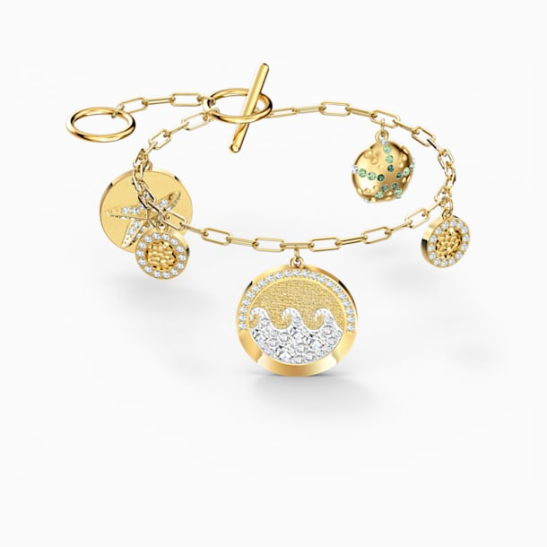 Shine Coins Bracelet, Light multi-coloured, Gold-tone plated - Swarovski, 5524188