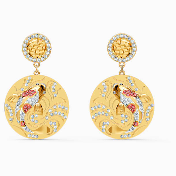 Shine Fish Pierced Earrings, Red, Gold-tone plated - Swarovski, 5524196