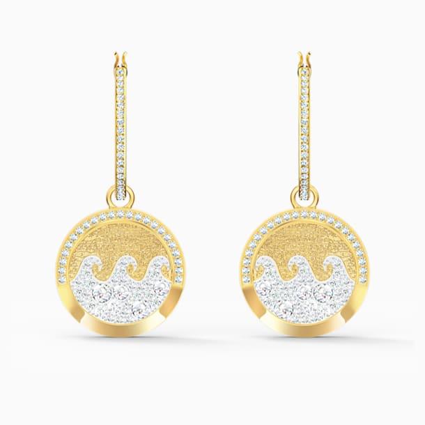 Shine Wave Pierced Earrings, Light multi-colored, Gold-tone plated - Swarovski, 5524202
