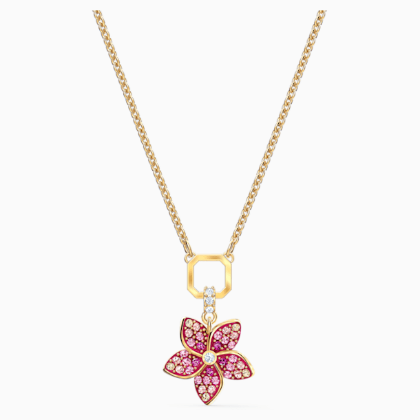 Tropical Flower Pendant, Pink, Gold-tone plated - Swarovski, 5524356