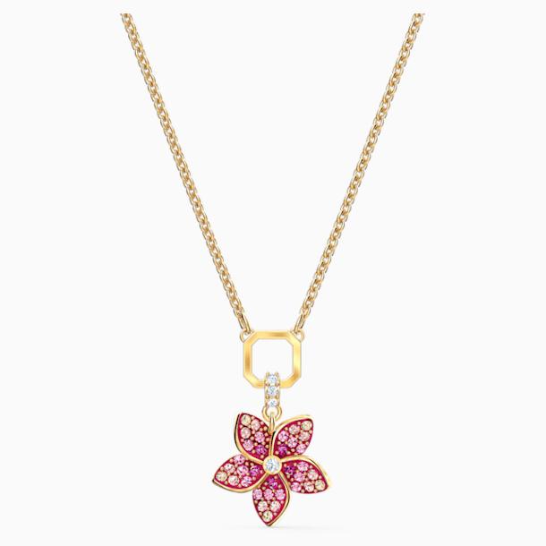 Pendentif Tropical Flower, rose, métal doré - Swarovski, 5524356