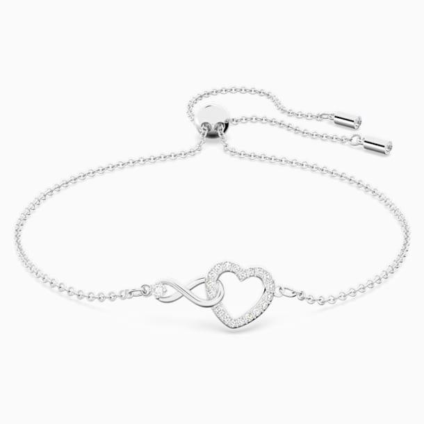 Swarovski Infinity Heart Bileklik, Beyaz, Rodyum kaplama - Swarovski, 5524421