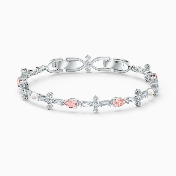 Perfection Bracelet, Pink, Rhodium plated - Swarovski, 5524544