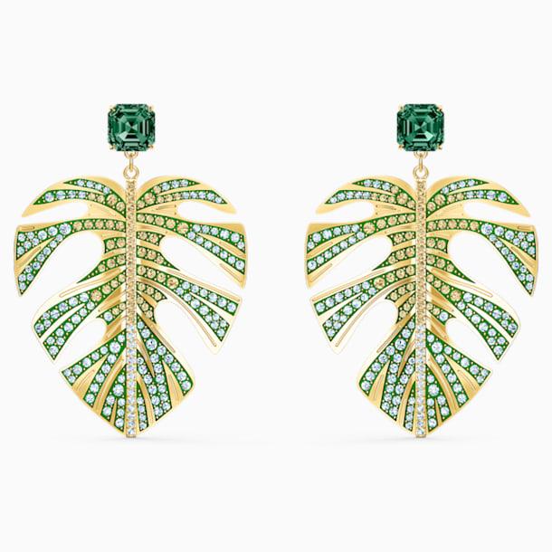 Tropical Leaf İğneli Küpeler, Yeşil, Altın rengi kaplama - Swarovski, 5525242