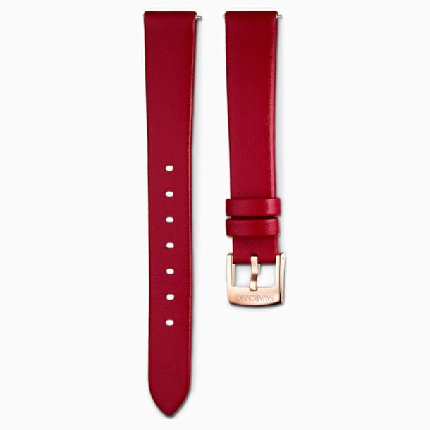 14mm Watch strap, Leather, Red, Rose-gold tone PVD - Swarovski, 5526320
