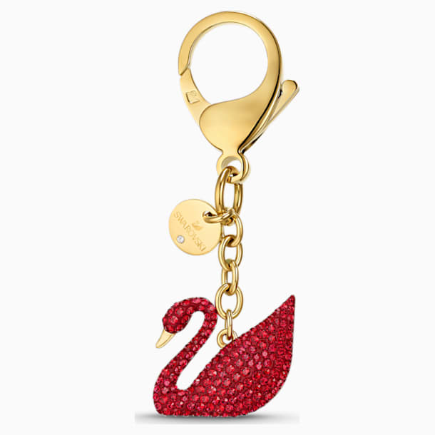 Swan Bag charm, Red, Gold-tone plated - Swarovski, 5526754