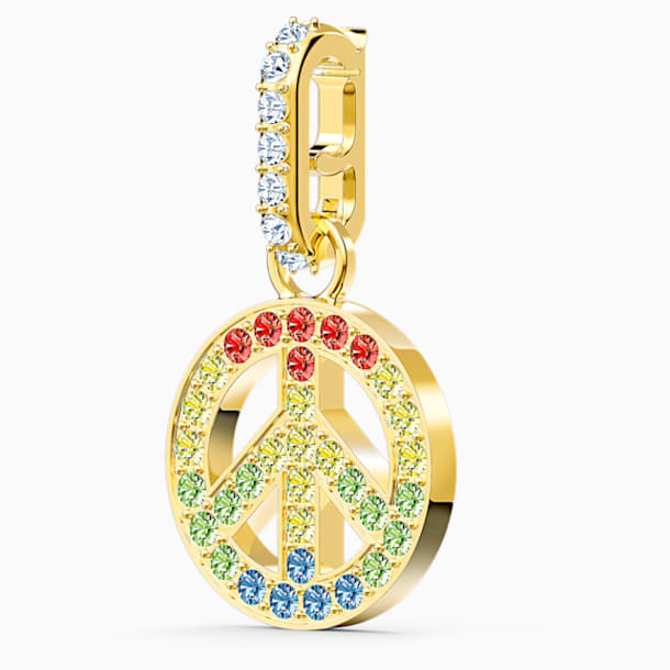 Swarovski Remix Collection Peace Charm, Light multi-coloured, Gold-tone plated - Swarovski, 5526998