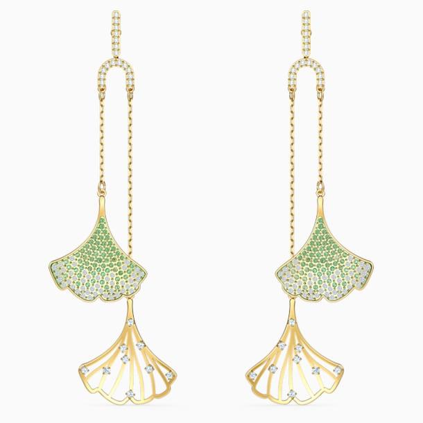 Brincos para orelhas furadas Stunning Gingko Mobile, verdes, banhados com tom dourado - Swarovski, 5527080
