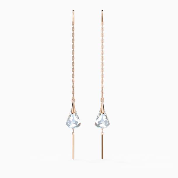 Τρυπητά σκουλαρίκια Spirit, λευκά, επιχρυσωμένα σε χρυσή ροζ απόχρωση - Swarovski, 5527396
